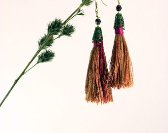 Hespera Pink Tassel Earrings