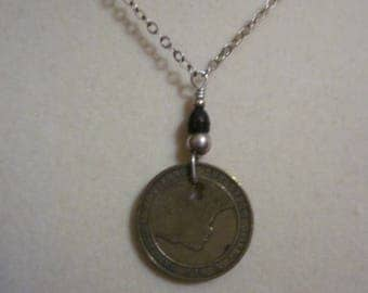 New Hampshire Old Man of the Mountain Transit Token - Brass Token Necklace