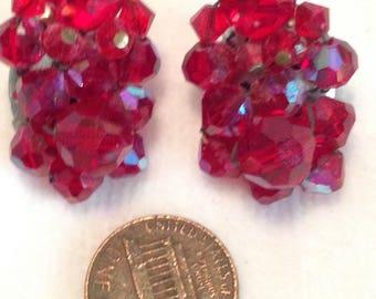 Red Clip Earrings // Aurora Borealis // Glass // Vintage