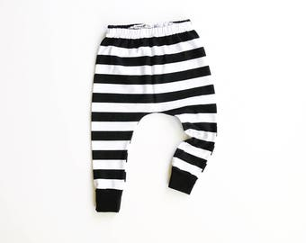 striped baby harems / toddler leggings / hipster baby toddler kid pants / black and white stripes
