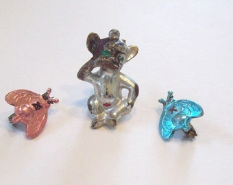 Lot of 3 Vintage Hong Kong Plastic Insect - Creature Pins - Brooches Old, Retro - Fly - Fun Gift Idea