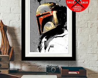 "Star Wars Art - SALE! 18""X24"" - Boba Fett - Star Wars Poster, Art Print, Boba Fett print, Fan Art, Star Wars Print, Star Wars Gift"