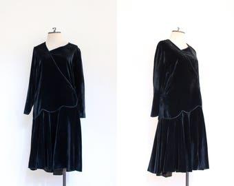 vintage 1920s black velvet long sleeved drop waist dress   20s gothic soft velvet afternoon dress with asymmetrical waistline   M
