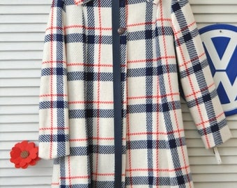 70's Vintage Girls Car Coat Red White & Blue with Matching Belt Cinderella size 12 Medium Patriotic Americana Costume Theater Lined