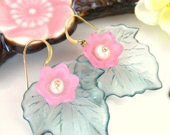 Mint green sakura dangle gold earrings, pink and green tulip pearl flower earrings