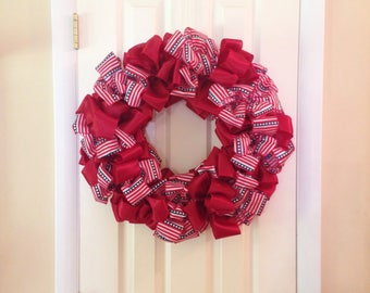 4th of July Wreath - 24 Inch Bow Wreath Door Decor Patriotic - Independence Day Wall Decoration Wall Hanging