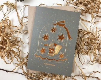 Christmas Card - 'Tis The Season To Be Jolly - Copper Foil Greeting Card