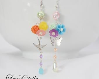 Asymmetrical earrings Rainbow earrings Pastel floral earrings Garden earrings Bird earrings Butterfly Earrings - Somewhere Over The Rainbow
