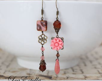 Pink Rustic earrings Asymmetrical earrings Earthy earrings Pink Floral earrings Woodland Earrings Gypsy earrings Autumn earrings - Rust