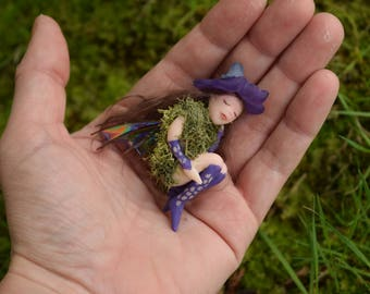 Purple Nestling Pixie, Purple Fairy in Nest, Hand sculpted without molds, Sleeping Faerie, Sleeping Pixie