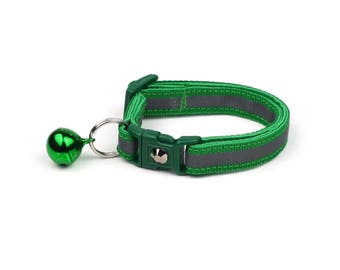 Reflective Cat Collar -Forest Green with Refective Strap -Small Cat / Kitten Size or Large Size Collar