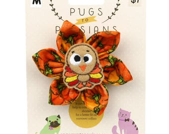 Autumn Dog Bow - Cute Turkey on Pumpkins - Flower - Collar Blossom - Medium Size