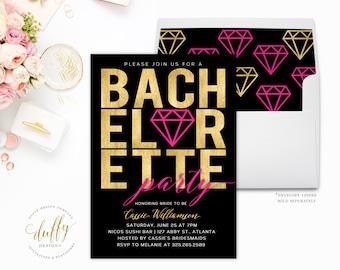 Bachelorette Party Invitations, Bachelorette Invitations, Bachelorette Party, Hens Party, Pink, Gold, Black, Girls Weekend, Printable