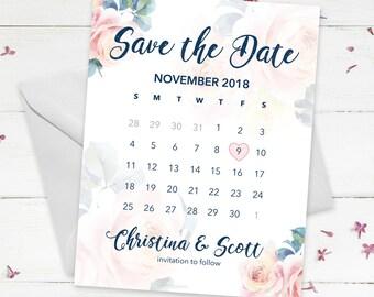 Save the Date - Floral Calendar