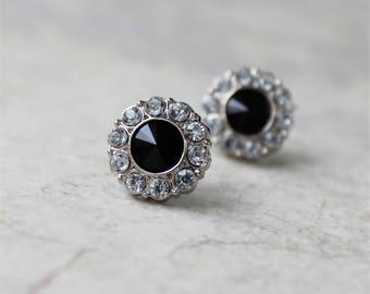 Black Onyx Earrings, Bridesmaid Gift, Bridesmaid Earrings Gift, Black and Silver Earrings, Crystal, Rhinestone, Black Onyx Jewelry Gift