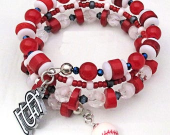 Cardinals Inspired Bracelet St Louis Logo Charm Baseball Glass Coral Crystal Memory Wire STL Redbirds Fan Jewelry / One Size Fits Most