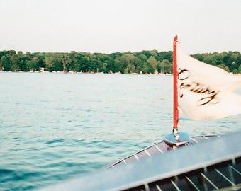 Classic Boat Photo, Summer Photography Image, Coastal Home Decor Print, Photography, Print, Wall Art, Cottage Decor, Michigan Summer