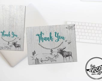 Rustic Woodland Baby Shower Thank you Cards - Instant Download