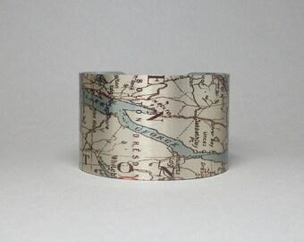 Lake George New York Map Upstate Adirondacks Cuff Bracelet Unique Gift for Men or Women