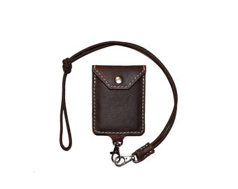 Brown Leather iD Badge Holder Lanyard, Leather Card Case, Credit Card Case, Credit Card Holder, ID Case, Work Badge Lanyard, Leather Case