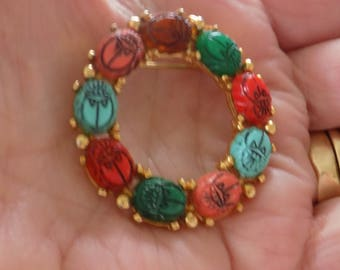 Vintage brooch, Scarab brooch, carved scarabs,retro brooch,Egyptian scarabs,colorful brooch.circle brooch