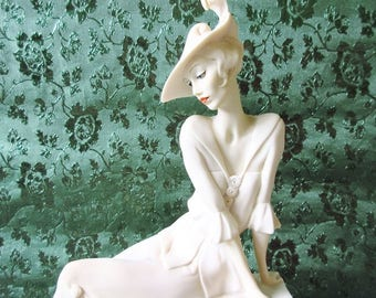 "Young Lady on Balaustre Sculpture 15"" Vintage 1991 Giuseppe Armani Figurine Italy"