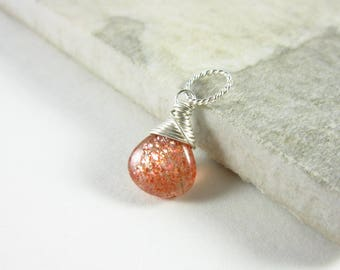 S - Healing Crystals and Stones - Gemstone Pendant - Oregon Sunstone Jewelry - Orange Sunstone Pendant - Sterling Silver Charms - 14k Gold