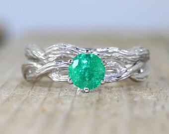 Natural emerald bridal set, 2 pcs wedding ring set, Engagement ring, Branch solitaire twig ring, Nature inspired, Jewelry set, Bridal set