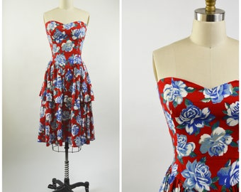 80s Strapless Dress Red White and Blue Cotton Floral Size Small Sweetheart Neckline Long Peplum Skirt Shirred Elastic Back Robbie Bee