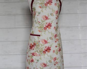 Waterproof Womens Apron Plus Size Apron in Cream with Burgundy Flowers