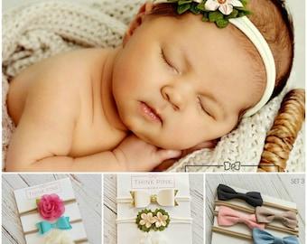 Baby headband SET, Baby Headband, Small Bows, Baby Bows, Newborn headbands,  Nylon Headbands, Itty bitty bows,Baby hair bows,Flower Headband