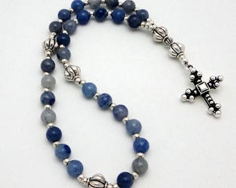 Protestant Prayer Beads / Anglican Rosary in Blue Aventurine with TierraCast Pewter Cross