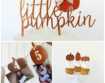 Little Pumpkin Package - Little Pumpkin Decorations - Little Pumpkin Party - Pumpkin First Birthday - Pumpkin Cake Topper - Pumpkin Banner