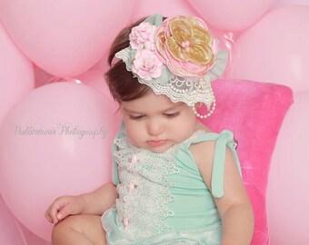 Baby Girl Headband, Bubble Gum Pink Headband, Aqua, Birthday Headband, First Birthday, Pink and Gold Birthday, Pink, Gold, Photo Prop