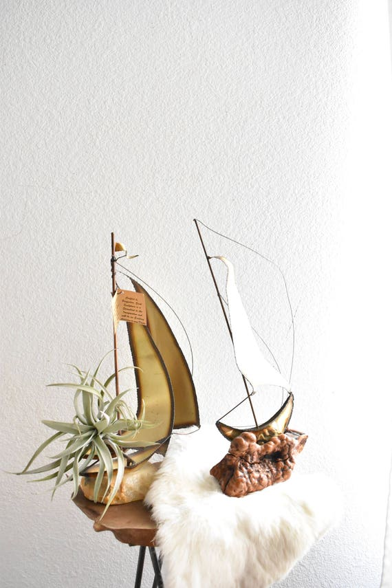 vintage tall brass copper sail boat sculpture / ship figurine / mario jason originals
