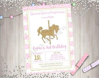 Carousel Birthday Invitation Carousel Invitation Invite Carousel Horse Pink and Gold Carousel invitation Printable