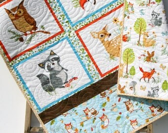 Forest Quilt, Baby Gender Neutral Boy or Girl, Modern Trendy, Baby Bedding, Nursery Blanket, Toddler Forest Frolics, Fox Deer Brown Blue