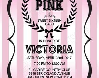 PINK Sweet Sixteen Invitation   PINK Birthday Invitation