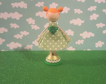Customizable St. Patrick's Day Girl Wooden Clothespin Doll- Green/White Polka Dot Dress