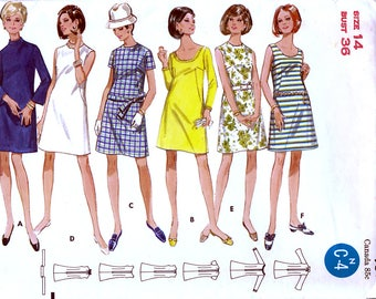 Butterick 5155 Vintage 60s Sewing Pattern for Misses' Dress - Uncut - Size 14 - Bust 36