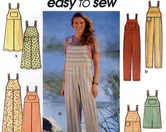 Simplicity 7969 Sewing Pattern for Misses' Jumper and Overalls - Uncut - Size 10, 12, 14