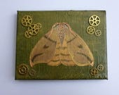 Moth Painting Small Original Art Canvas Acrylic Painting Steampunk