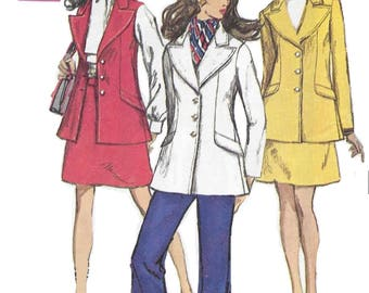 Simplicity 8115 Misses' 60s Jacket, Sleeveless Jacket, Skirt and Bell Bottom Pants Sewing Pattern Size 14 Bust 36