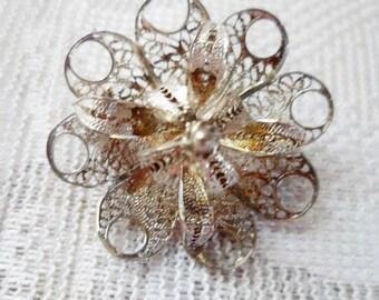 Vintage silver Filigree' 3D Flower Brooch