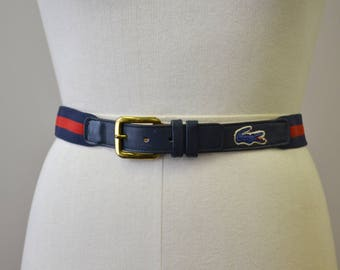 1980s Men's Lacoste Navy and Red Belt
