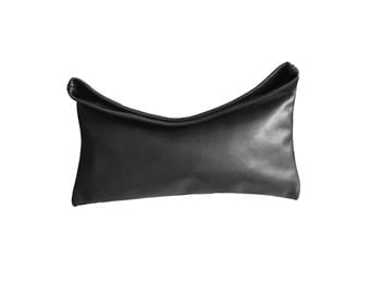 Minimalist Leather Bag, Fold-over Leather Clutch , Black Leather Clutch, Black Soft Leather Bag, Everyday Clutch, Basics Collection USA made