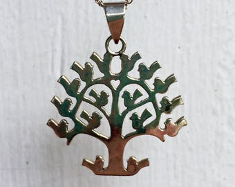 Vintage Sterling Silver Tree of Life Mexican Silver Pendant Necklace