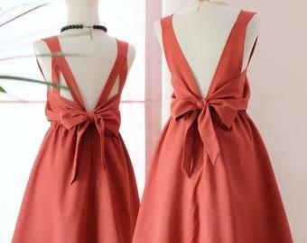 Rusty Orange Short Prom Dresses