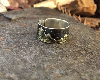 Nightsky Mountain Ring Ritual Remains Mountain Jewelry Silver Ring Witchy Jewelry Stars Constellations Adjustable Ring Mountain Range Ring