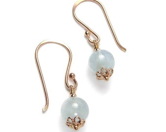 Rose Gold Aquamarine Earrings, Blue GemStone Drop Earrings,  Dangle Earrings, March Birthstone Jewelry